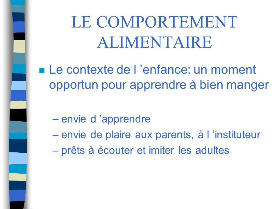 LE COMPORTEMENT ALIMENTAIRE n Le contexte de l enfance: un moment opportun pour apprendre à bien manger –envie d apprendre –envie de plaire aux parent