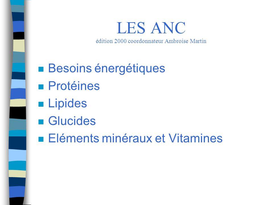 n Les Glucides: –source d énergie: complètent la ration énergétique –principal carburant du muscle et du cerveau –privilégier les amidons au saccharose LES ANC édition 2000 coordonnateur Ambroise Martin