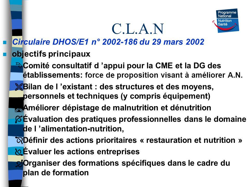 C.L.A.N n Circulaire DHOS/E1 n° 2002-186 du 29 mars 2002 n objectifs principaux ÊComité consultatif d appui pour la CME et la DG des établissements: f