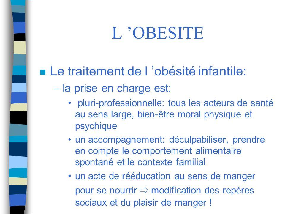L OBESITE n Le traitement de l obésité infantile: –la prise en charge est: pluri-professionnelle: tous les acteurs de santé au sens large, bien-être m