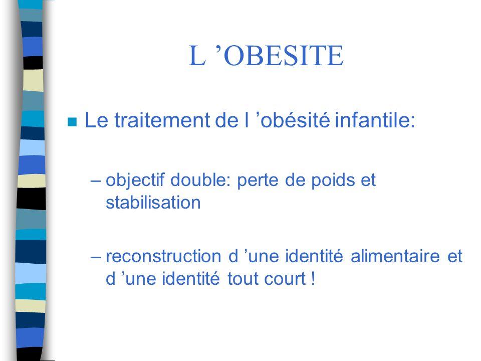 L OBESITE n Le traitement de l obésité infantile: –objectif double: perte de poids et stabilisation –reconstruction d une identité alimentaire et d un