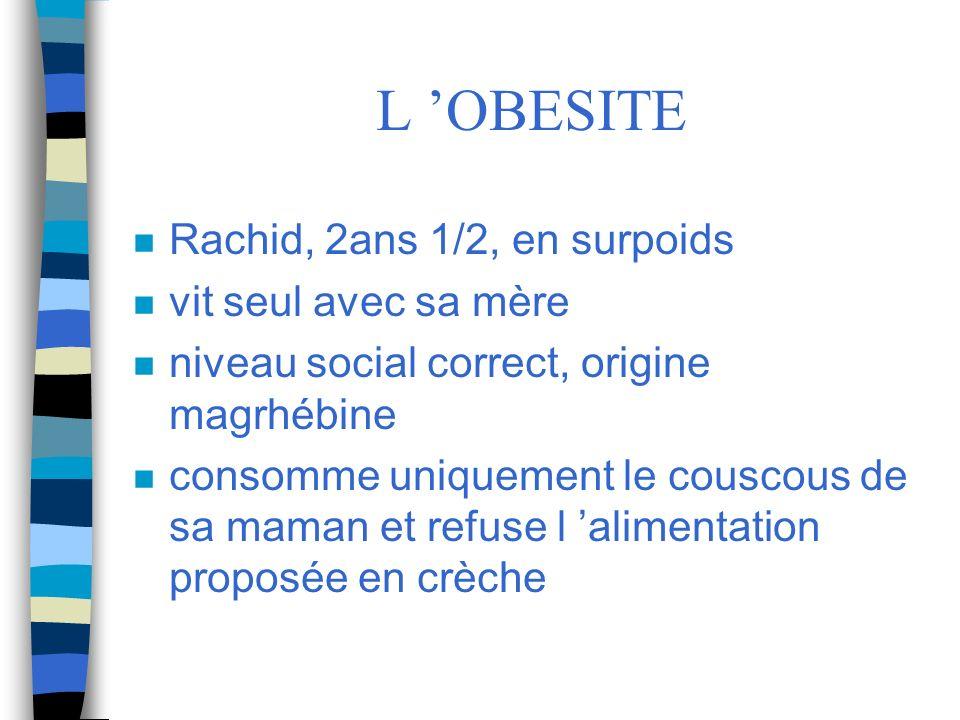 L OBESITE n Rachid, 2ans 1/2, en surpoids n vit seul avec sa mère n niveau social correct, origine magrhébine n consomme uniquement le couscous de sa