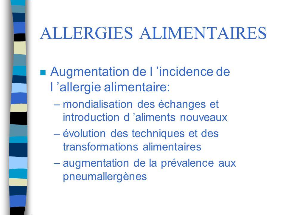 ALLERGIES ALIMENTAIRES n Augmentation de l incidence de l allergie alimentaire: –mondialisation des échanges et introduction d aliments nouveaux –évol