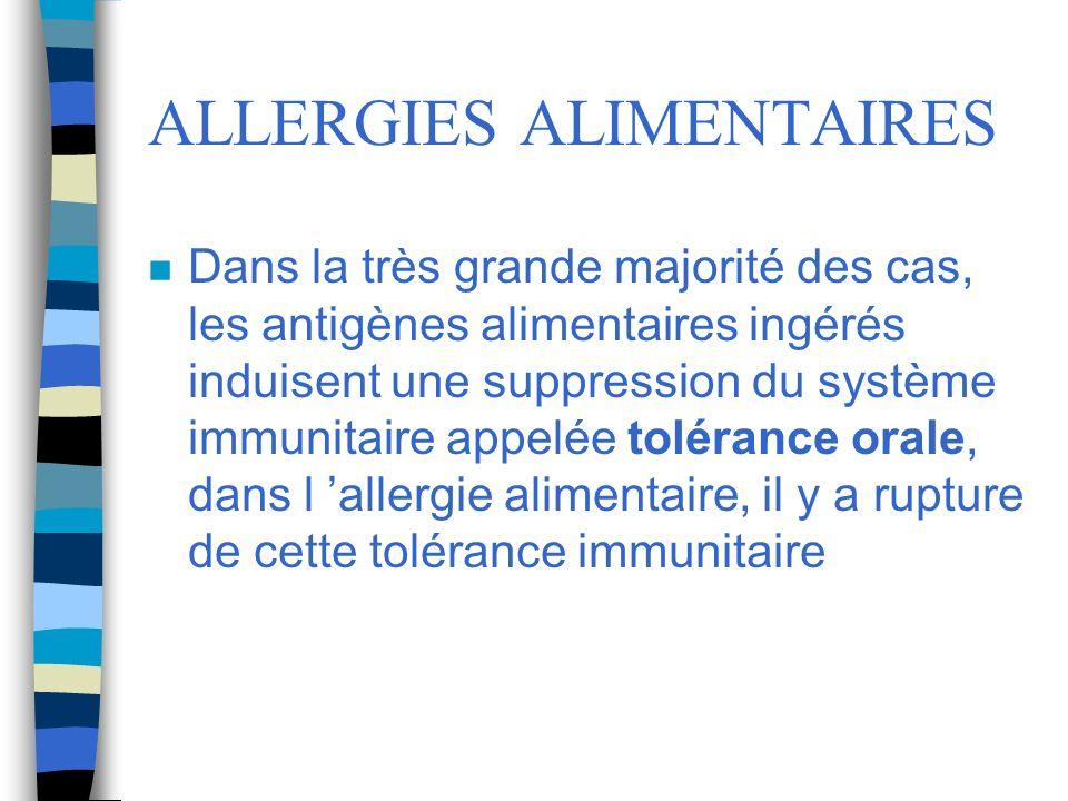 ALLERGIES ALIMENTAIRES n Dans la très grande majorité des cas, les antigènes alimentaires ingérés induisent une suppression du système immunitaire app