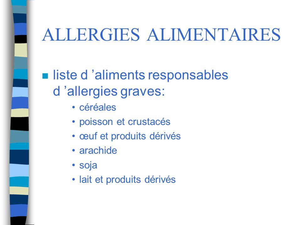 ALLERGIES ALIMENTAIRES n liste d aliments responsables d allergies graves: céréales poisson et crustacés œuf et produits dérivés arachide soja lait et