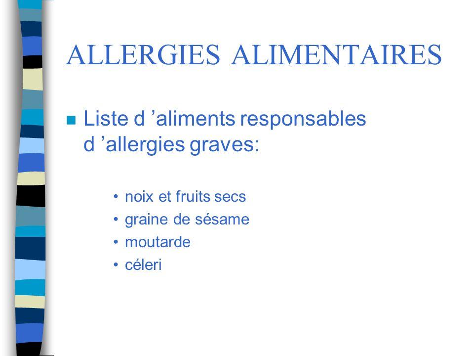 ALLERGIES ALIMENTAIRES n Liste d aliments responsables d allergies graves: noix et fruits secs graine de sésame moutarde céleri