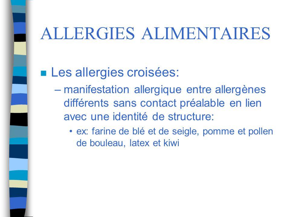 ALLERGIES ALIMENTAIRES n Les allergies croisées: –manifestation allergique entre allergènes différents sans contact préalable en lien avec une identit