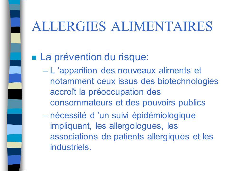ALLERGIES ALIMENTAIRES n La prévention du risque: –L apparition des nouveaux aliments et notamment ceux issus des biotechnologies accroît la préoccupa