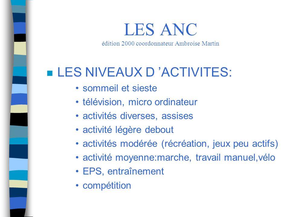 n LES NIVEAUX D ACTIVITES: sommeil et sieste télévision, micro ordinateur activités diverses, assises activité légère debout activités modérée (récréa