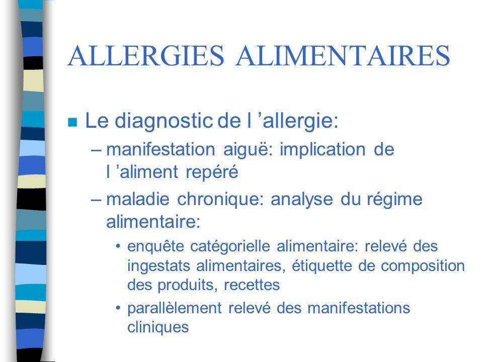 ALLERGIES ALIMENTAIRES n Le diagnostic de l allergie: –manifestation aiguë: implication de l aliment repéré –maladie chronique: analyse du régime alim