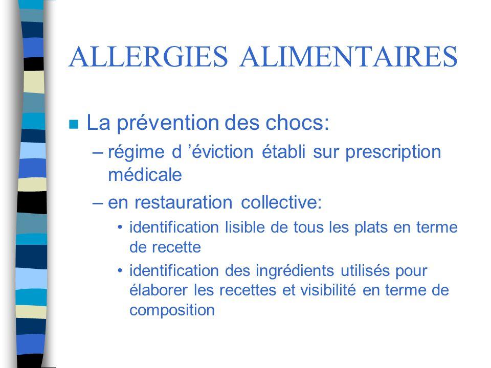 ALLERGIES ALIMENTAIRES n La prévention des chocs: –régime d éviction établi sur prescription médicale –en restauration collective: identification lisi