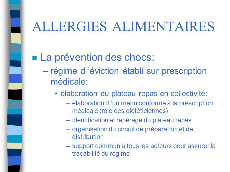 ALLERGIES ALIMENTAIRES n La prévention des chocs: –régime d éviction établi sur prescription médicale: élaboration du plateau repas en collectivité: –
