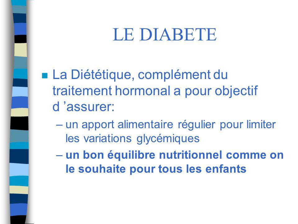 LE DIABETE n La Diététique, complément du traitement hormonal a pour objectif d assurer: –un apport alimentaire régulier pour limiter les variations g