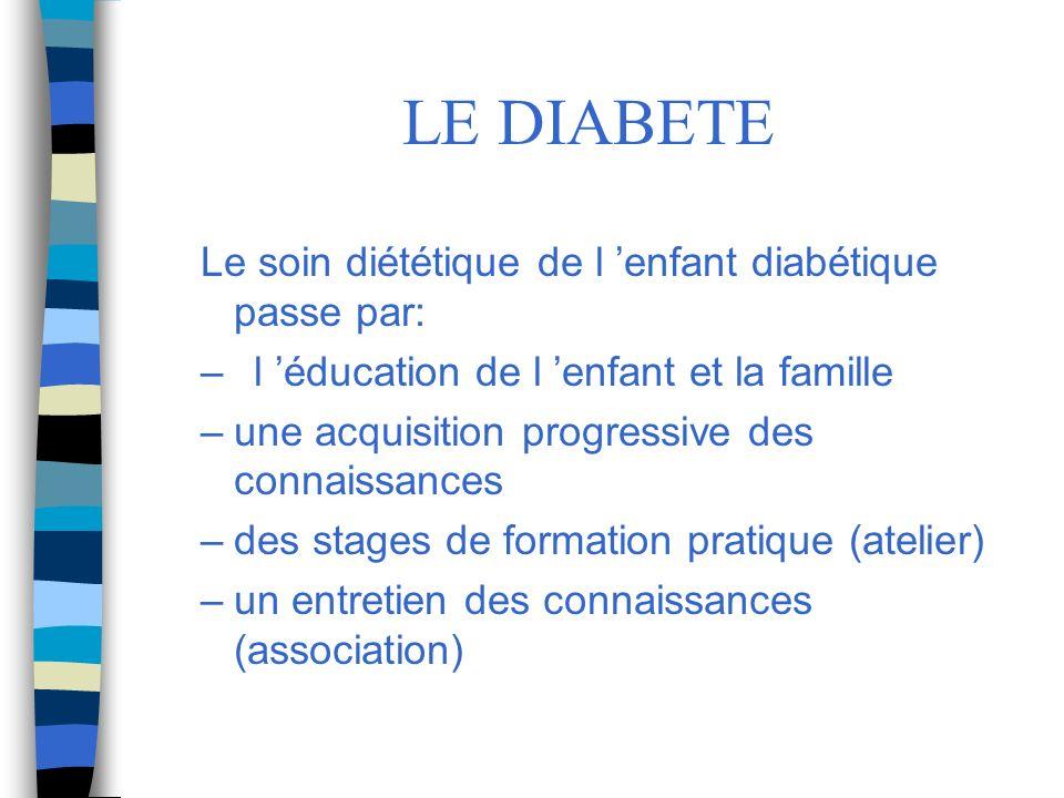 LE DIABETE Le soin diététique de l enfant diabétique passe par: –l éducation de l enfant et la famille –une acquisition progressive des connaissances