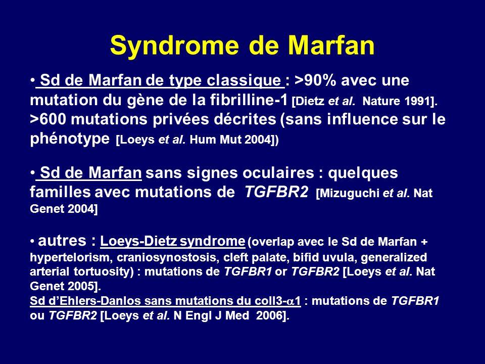 Syndrome de Marfan Sd de Marfan de type classique : >90% avec une mutation du gène de la fibrilline-1 [Dietz et al. Nature 1991]. >600 mutations privé