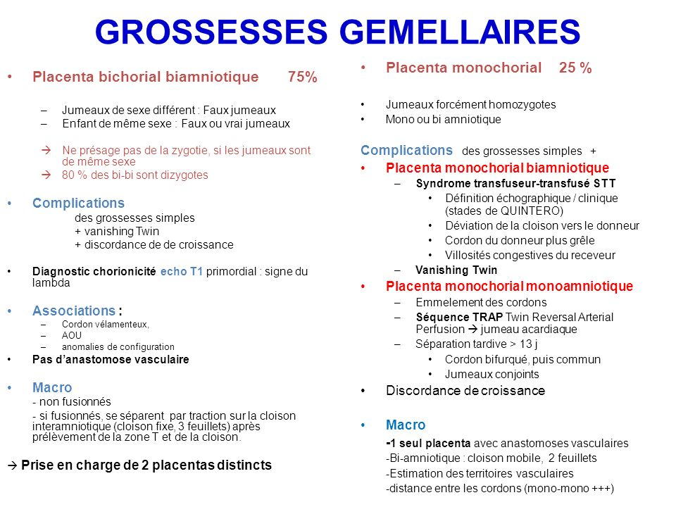 PLACENTA BI-AMNIOTIQUE Placenta bichorial bi amniotique Placenta monochorial biamniotique Cloison interamniotique À prélever en premier Technique du rouleau possible