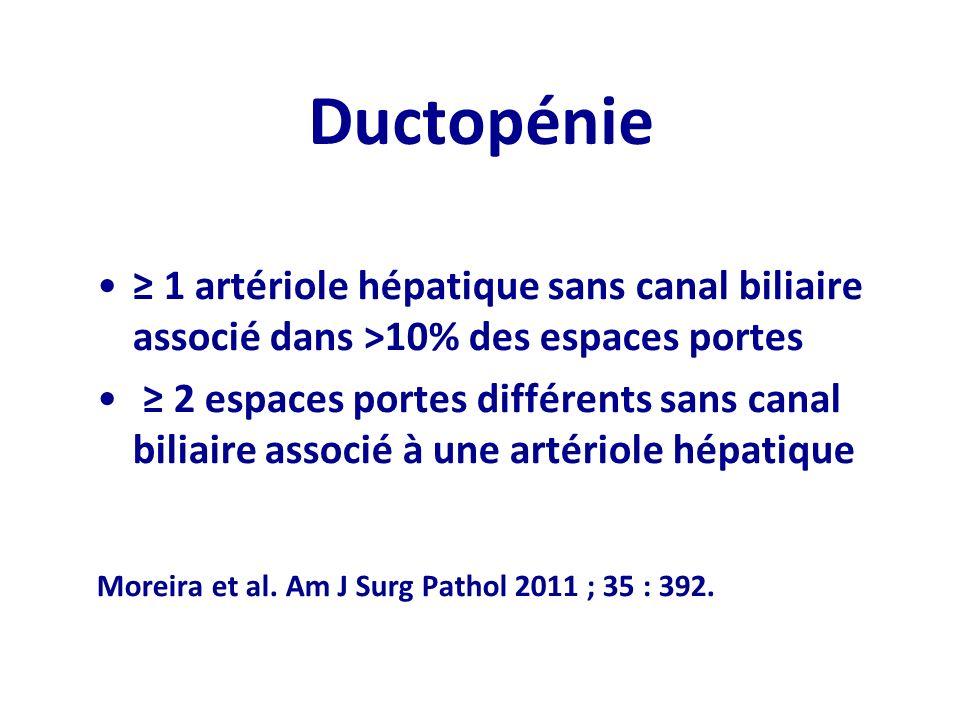 Ductopénie 1 artériole hépatique sans canal biliaire associé dans >10% des espaces portes 2 espaces portes différents sans canal biliaire associé à un