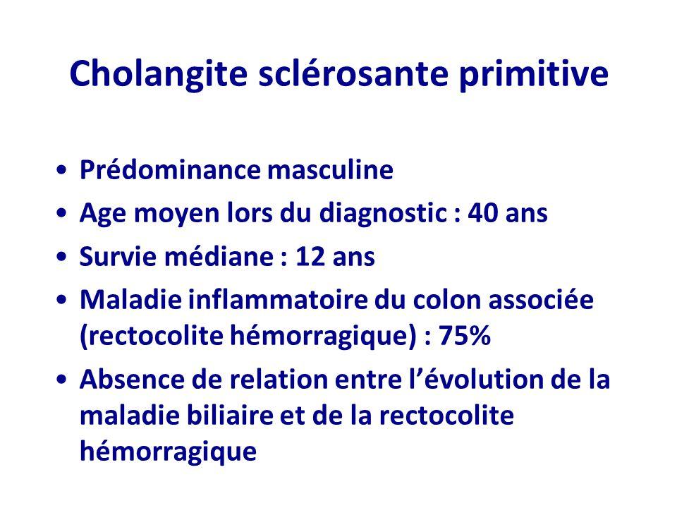 Cholangite sclérosante primitive Prédominance masculine Age moyen lors du diagnostic : 40 ans Survie médiane : 12 ans Maladie inflammatoire du colon a