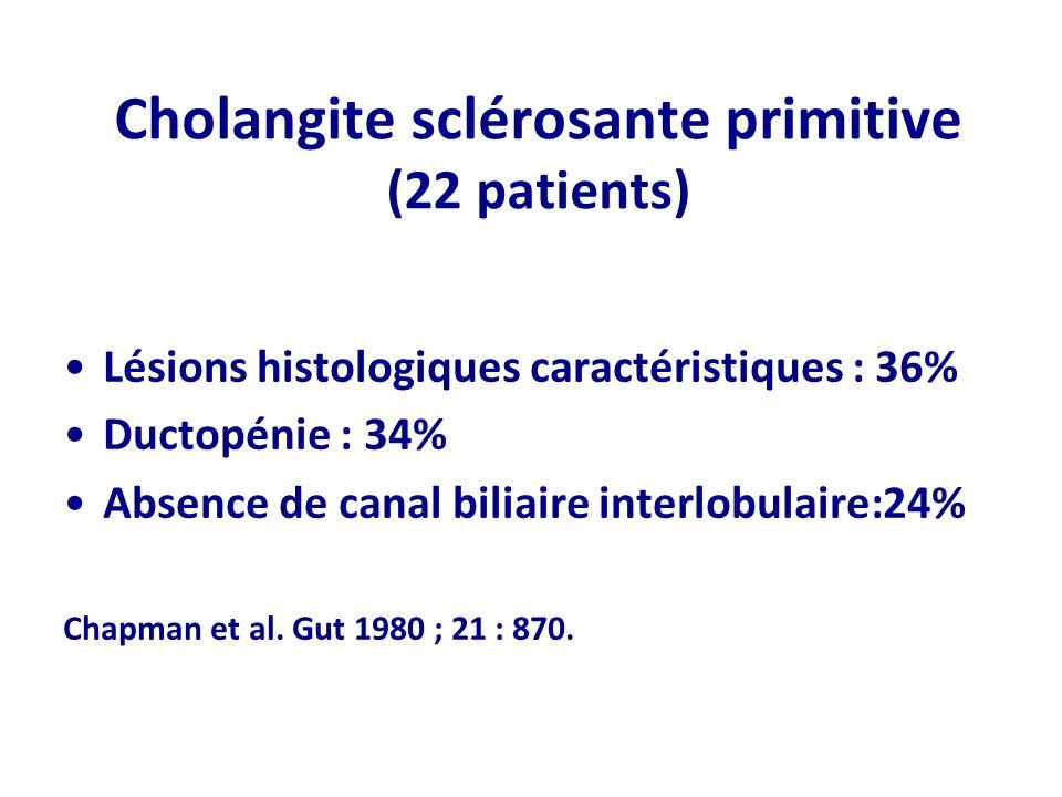 Cholangite sclérosante primitive (22 patients) Lésions histologiques caractéristiques : 36% Ductopénie : 34% Absence de canal biliaire interlobulaire:
