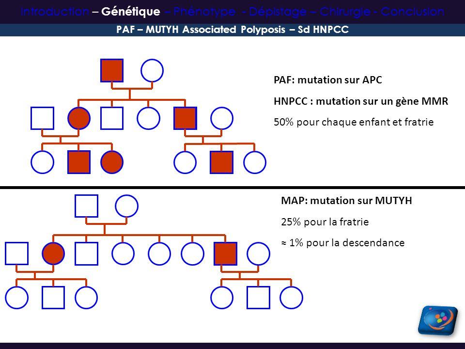 PAF: mutation sur APC HNPCC : mutation sur un gène MMR 50% pour chaque enfant et fratrie MAP: mutation sur MUTYH 25% pour la fratrie 1% pour la descen
