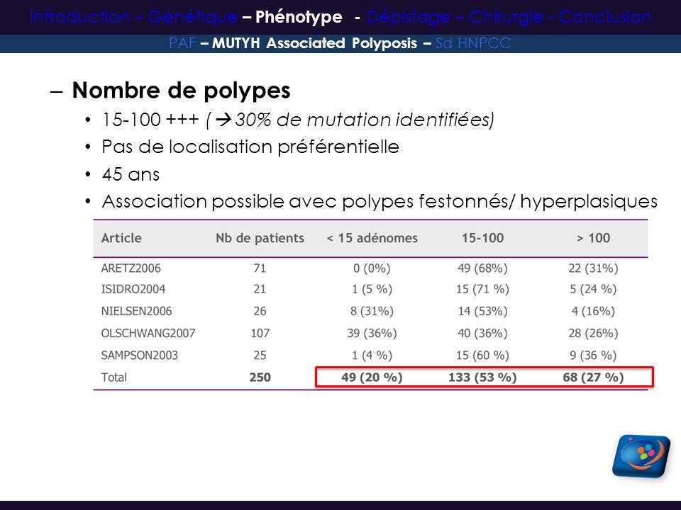 – Nombre de polypes 15-100 +++ ( 30% de mutation identifiées) Pas de localisation préférentielle 45 ans Association possible avec polypes festonnés/ h
