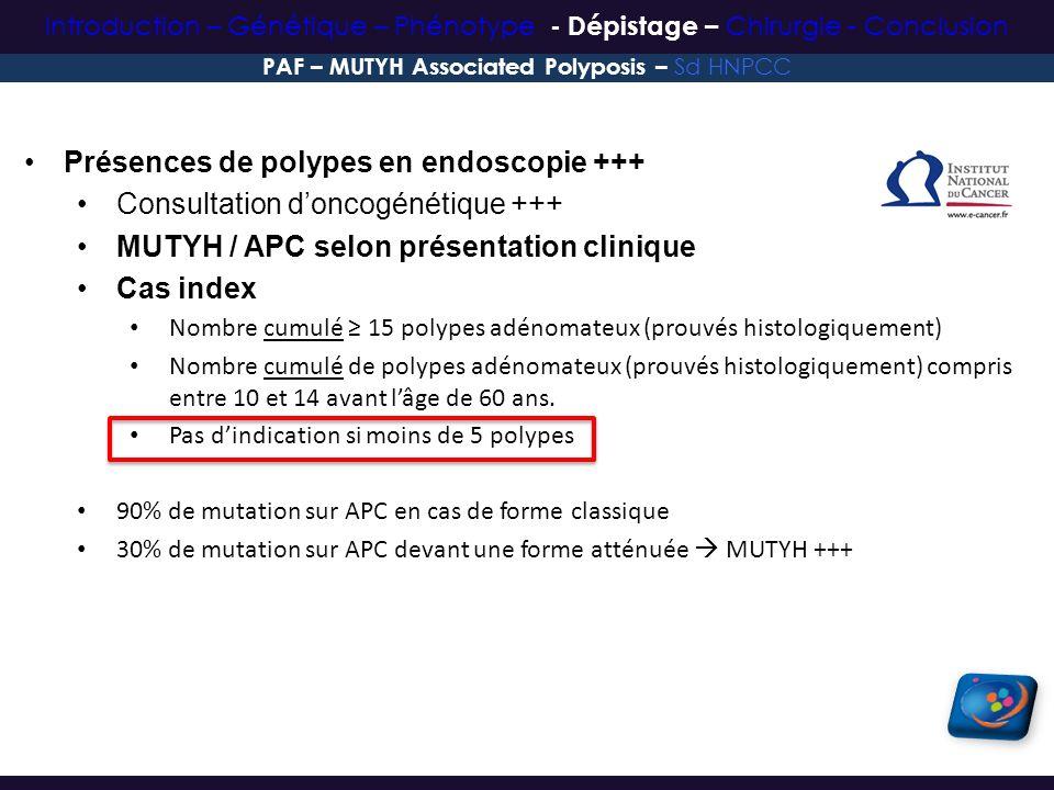 Présences de polypes en endoscopie +++ Consultation doncogénétique +++ MUTYH / APC selon présentation clinique Cas index Nombre cumulé 15 polypes adén