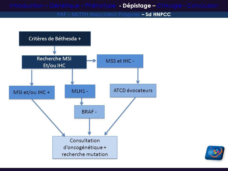 Critères de Béthesda + Recherche MSI Et/ou IHC Recherche MSI Et/ou IHC MSI et/ou IHC + Consultation doncogénétique + recherche mutation MSS et IHC - A