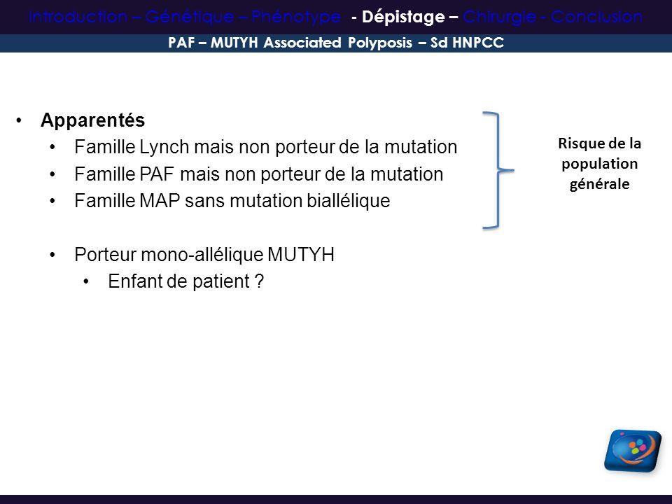 Apparentés Famille Lynch mais non porteur de la mutation Famille PAF mais non porteur de la mutation Famille MAP sans mutation biallélique Porteur mon