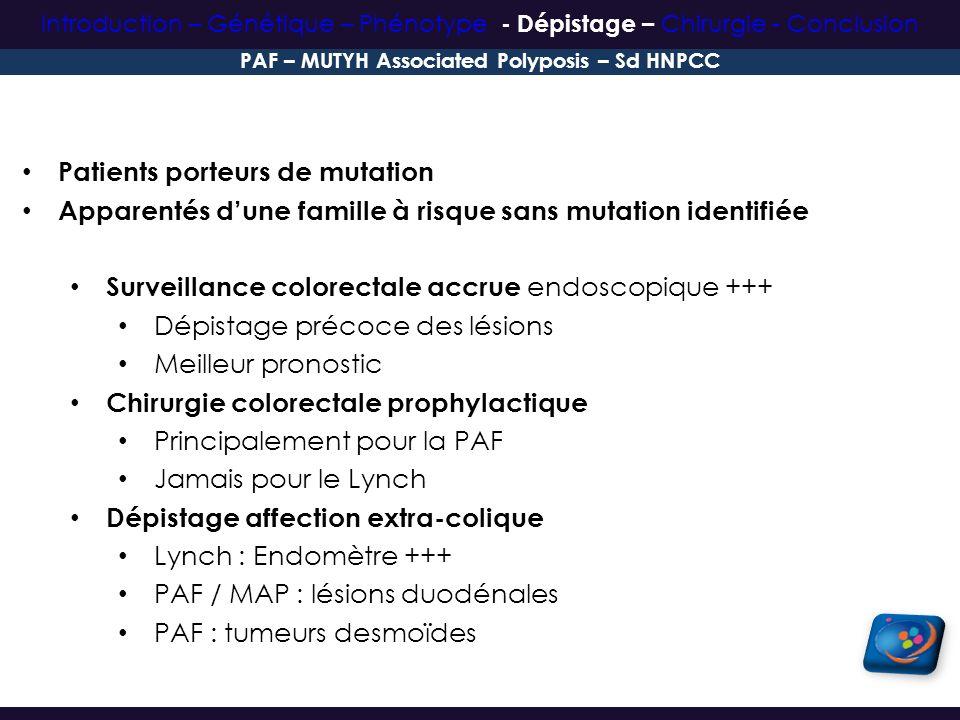 Patients porteurs de mutation Apparentés dune famille à risque sans mutation identifiée Surveillance colorectale accrue endoscopique +++ Dépistage pré