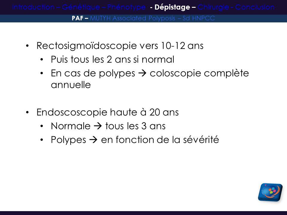 Rectosigmoïdoscopie vers 10-12 ans Puis tous les 2 ans si normal En cas de polypes coloscopie complète annuelle Endoscoscopie haute à 20 ans Normale t