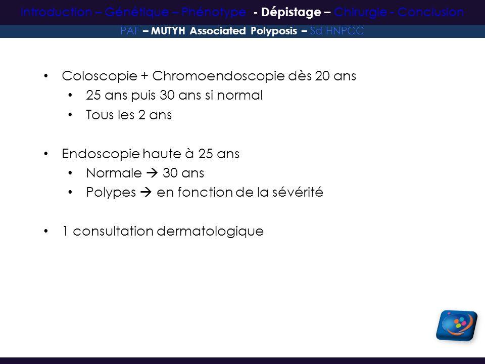 Coloscopie + Chromoendoscopie dès 20 ans 25 ans puis 30 ans si normal Tous les 2 ans Endoscopie haute à 25 ans Normale 30 ans Polypes en fonction de l