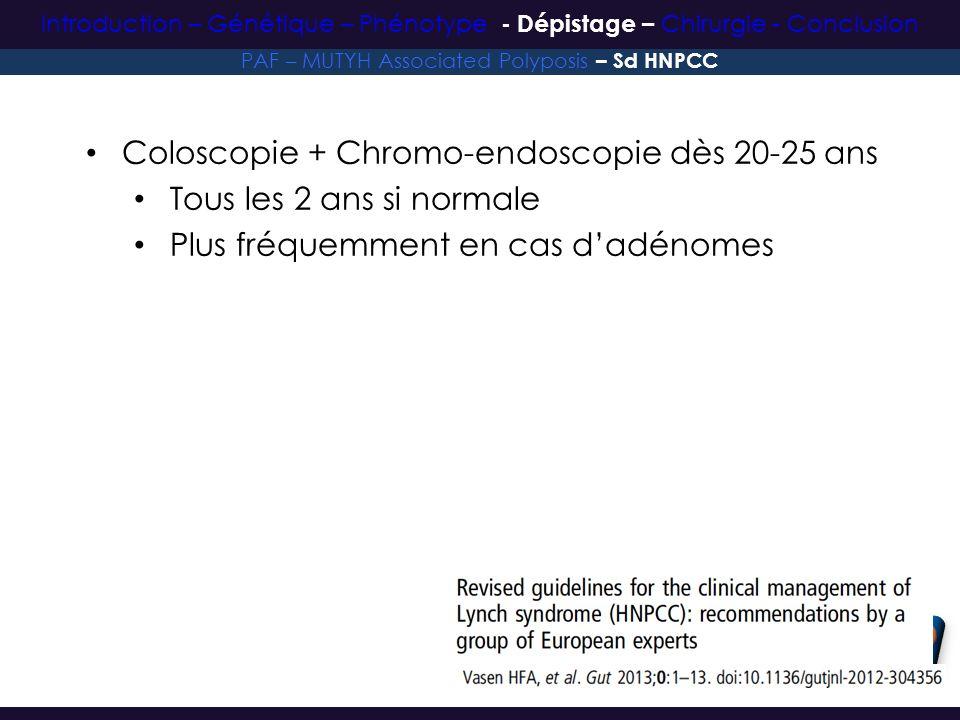 Coloscopie + Chromo-endoscopie dès 20-25 ans Tous les 2 ans si normale Plus fréquemment en cas dadénomes PAF – MUTYH Associated Polyposis – Sd HNPCC I