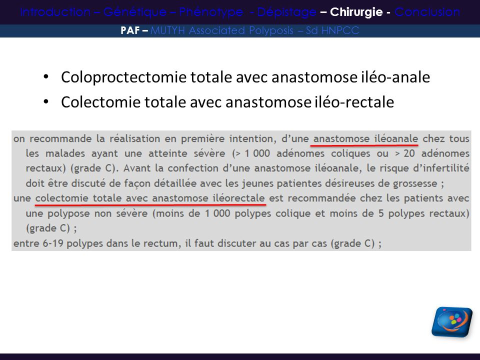 Coloproctectomie totale avec anastomose iléo-anale Colectomie totale avec anastomose iléo-rectale PAF – MUTYH Associated Polyposis – Sd HNPCC Introduc