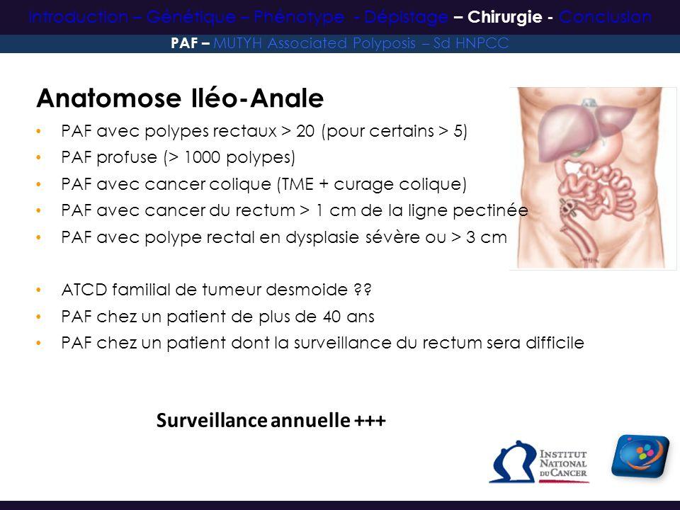 Surveillance annuelle +++ Anatomose Iléo-Anale PAF avec polypes rectaux > 20 (pour certains > 5) PAF profuse (> 1000 polypes) PAF avec cancer colique
