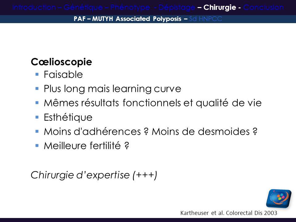 Cœlioscopie Faisable Plus long mais learning curve Mêmes résultats fonctionnels et qualité de vie Esthétique Moins d'adhérences ? Moins de desmoides ?