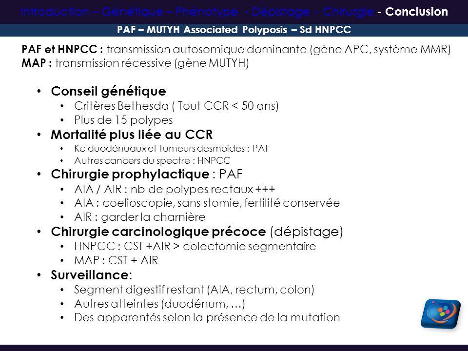 PAF et HNPCC : transmission autosomique dominante (gène APC, système MMR) MAP : transmission récessive (gène MUTYH) Conseil génétique Critères Bethesd