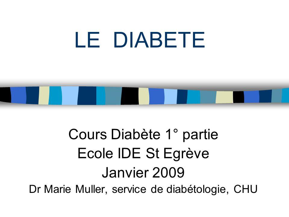 LE DIABETE Cours Diabète 1° partie Ecole IDE St Egrève Janvier 2009 Dr Marie Muller, service de diabétologie, CHU