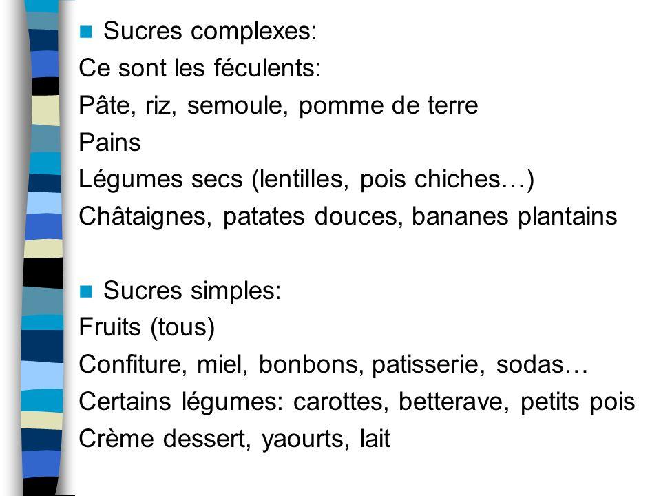 Sucres complexes: Ce sont les féculents: Pâte, riz, semoule, pomme de terre Pains Légumes secs (lentilles, pois chiches…) Châtaignes, patates douces,