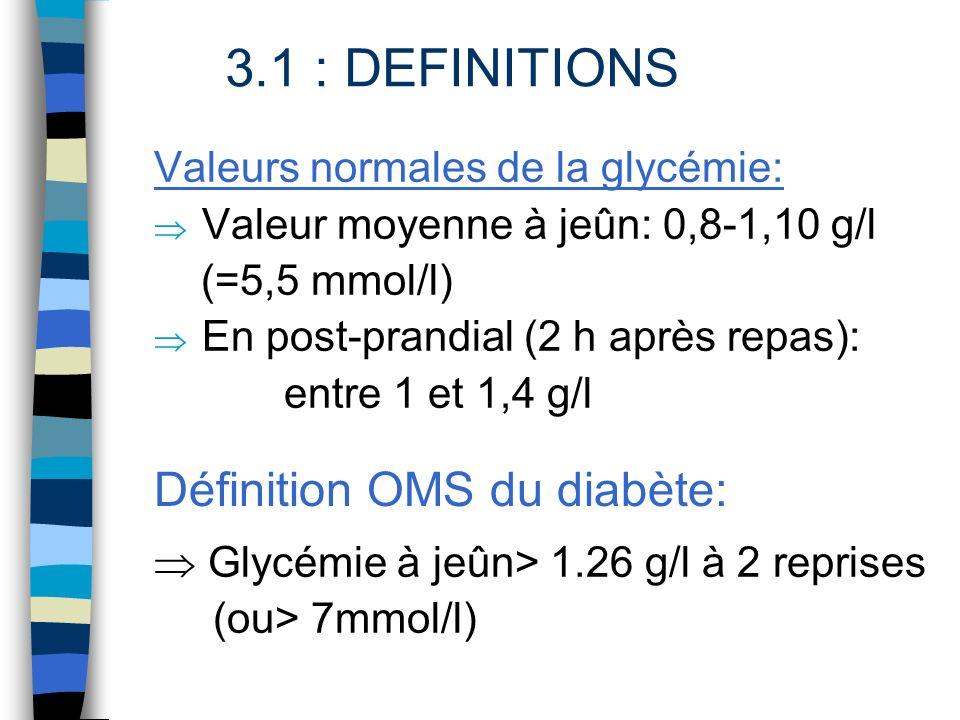 Définition OMS du diabète: Valeurs normales de la glycémie: Valeur moyenne à jeûn: 0,8-1,10 g/l (=5,5 mmol/l) En post-prandial (2 h après repas): entr