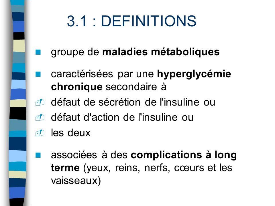 groupe de maladies métaboliques caractérisées par une hyperglycémie chronique secondaire à - défaut de sécrétion de l'insuline ou - défaut d'action de