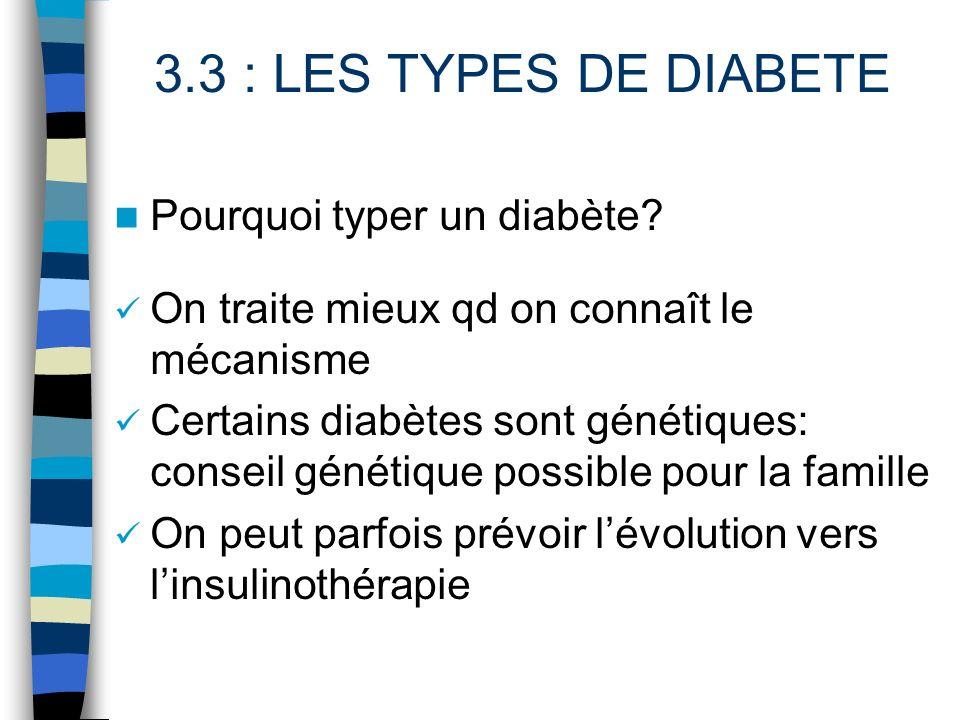 Pourquoi typer un diabète? On traite mieux qd on connaît le mécanisme Certains diabètes sont génétiques: conseil génétique possible pour la famille On