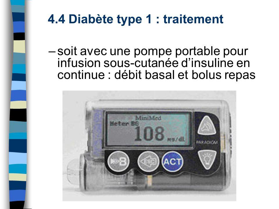 –soit avec une pompe portable pour infusion sous-cutanée dinsuline en continue : débit basal et bolus repas 4.4 Diabète type 1 : traitement
