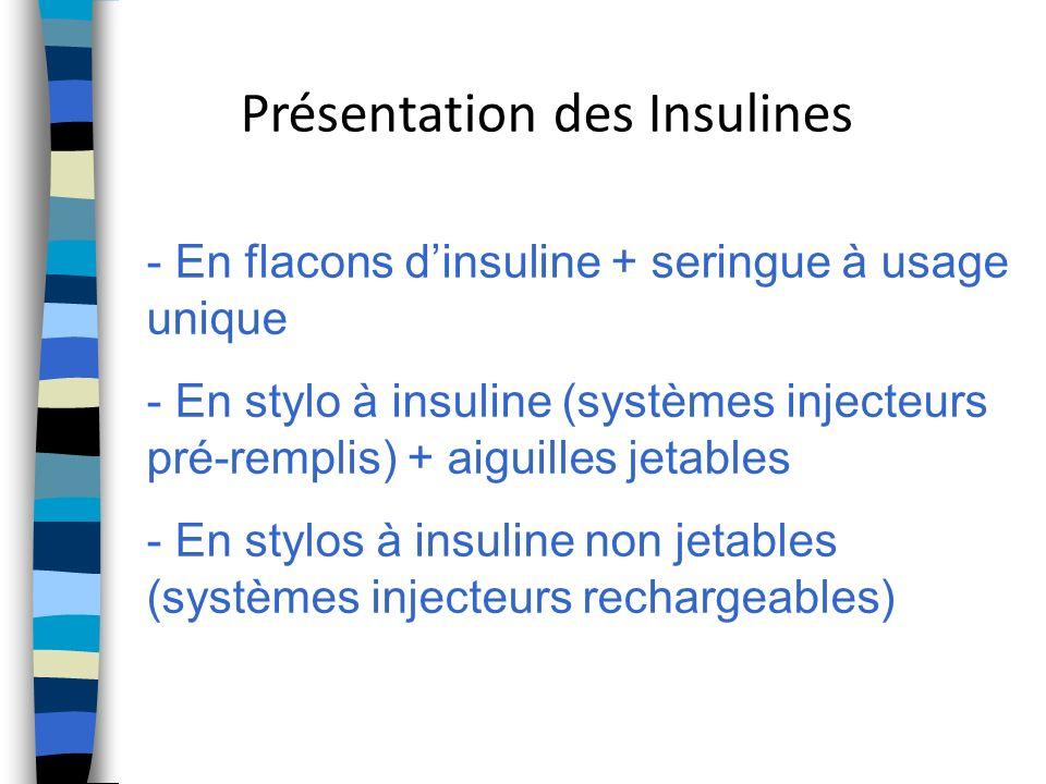Présentation des Insulines - En flacons dinsuline + seringue à usage unique - En stylo à insuline (systèmes injecteurs pré-remplis) + aiguilles jetabl