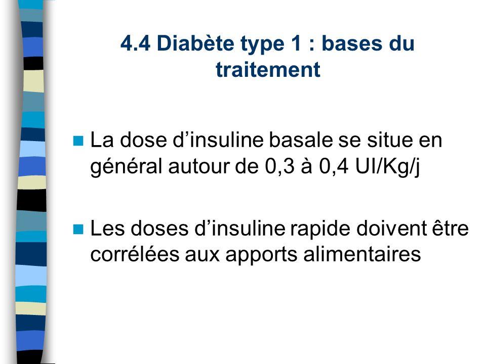 La dose dinsuline basale se situe en général autour de 0,3 à 0,4 UI/Kg/j Les doses dinsuline rapide doivent être corrélées aux apports alimentaires 4.
