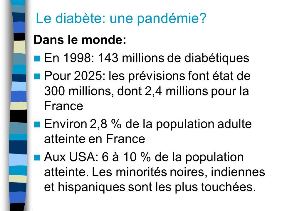 Le diabète: une pandémie? Dans le monde: En 1998: 143 millions de diabétiques Pour 2025: les prévisions font état de 300 millions, dont 2,4 millions p