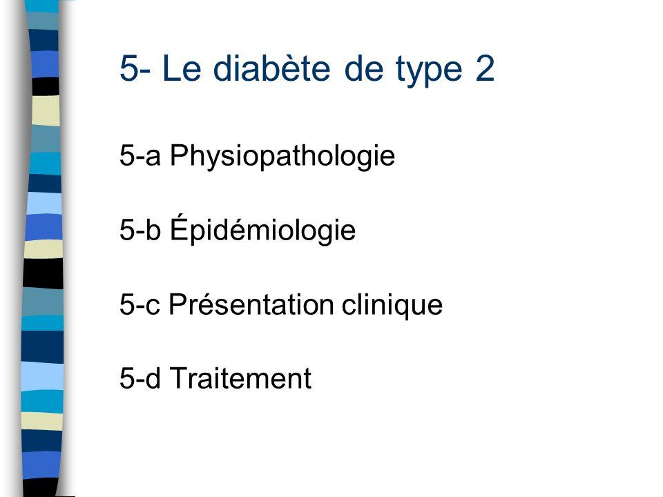 5- Le diabète de type 2 5-a Physiopathologie 5-b Épidémiologie 5-c Présentation clinique 5-d Traitement