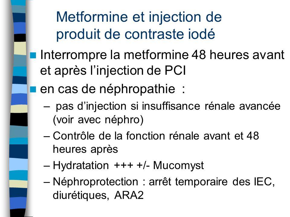 Metformine et injection de produit de contraste iodé Interrompre la metformine 48 heures avant et après linjection de PCI en cas de néphropathie : – p