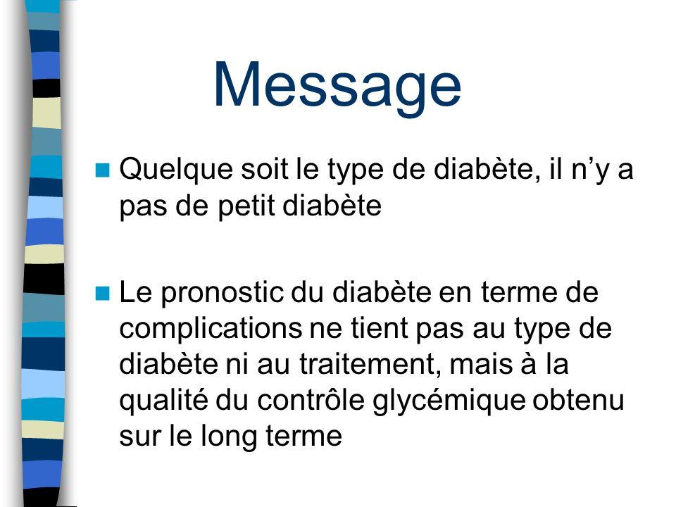 Message Quelque soit le type de diabète, il ny a pas de petit diabète Le pronostic du diabète en terme de complications ne tient pas au type de diabèt