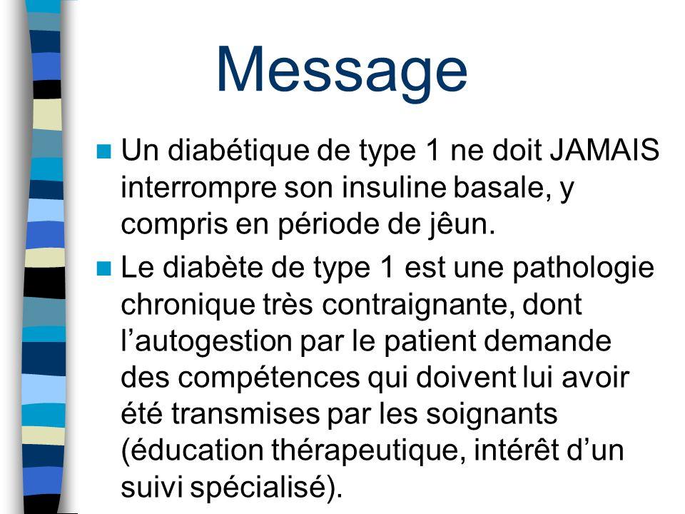Un diabétique de type 1 ne doit JAMAIS interrompre son insuline basale, y compris en période de jêun. Le diabète de type 1 est une pathologie chroniqu
