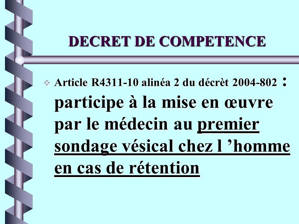 DECRET DE COMPETENCE ROLE SUR PRESCRIPTION b Article R4311-7 alinéa 15 du décret 2004-802 : pose de sonde vésicale en vue de prélèvements d urines, de